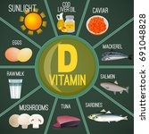 high vitamin d foods. healthy... | Shutterstock .eps vector #691048828