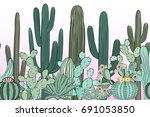seamless pattern with cactus.... | Shutterstock .eps vector #691053850