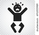 crying baby vector icon. anger...   Shutterstock .eps vector #691055989