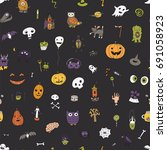 icons and halloween objects... | Shutterstock .eps vector #691058923
