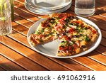 domestic production of pizza....   Shutterstock . vector #691062916