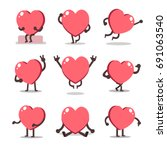 cartoon heart character poses | Shutterstock .eps vector #691063540