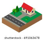 small house. building.... | Shutterstock .eps vector #691063678