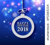 2018 happy new year and merry... | Shutterstock .eps vector #691065214