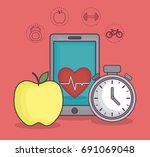 healthy and fitness lifestyle... | Shutterstock .eps vector #691069048