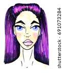 girl sketch watercolor brunette | Shutterstock . vector #691073284