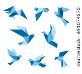blue flying pigeon and dove... | Shutterstock .eps vector #691074370