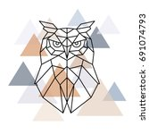 Stock vector owl geometric head scandinavian style vector illustration 691074793