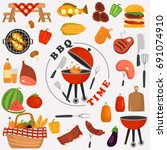 barbecue color icons set for... | Shutterstock .eps vector #691074910
