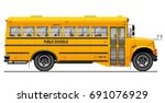 yellow classic school bus. side ... | Shutterstock .eps vector #691076929