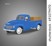 old retro pickup truck vector... | Shutterstock .eps vector #691079470