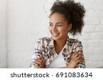 charming delightful mixed race... | Shutterstock . vector #691083634