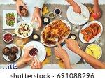autumn thanksgiving main dish... | Shutterstock . vector #691088296