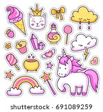 unicorn  rainbow  magic... | Shutterstock .eps vector #691089259