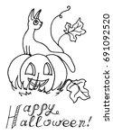 cat sitting on a pumpkin that... | Shutterstock .eps vector #691092520