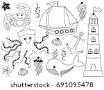 vector nautical set with crab ... | Shutterstock .eps vector #691095478