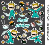 vector sushi stickers pattern | Shutterstock .eps vector #691098148