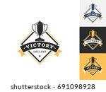 vintage trophy logo design...   Shutterstock .eps vector #691098928