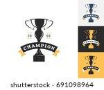 vintage trophy logo design... | Shutterstock .eps vector #691098964