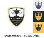 vintage trophy logo design...   Shutterstock .eps vector #691098988