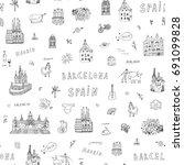 barcelona spain city doodle... | Shutterstock .eps vector #691099828