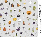 icons and halloween objects... | Shutterstock .eps vector #691099843