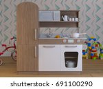 children kitchen design... | Shutterstock . vector #691100290