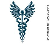 caduceus symbol made using bird ... | Shutterstock .eps vector #691103446