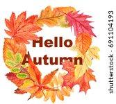 watercolor wreath  hello autumn | Shutterstock . vector #691104193