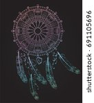 dreamcatcher with feathers ...   Shutterstock .eps vector #691105696