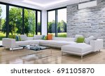 modern bright living room ... | Shutterstock . vector #691105870