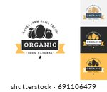 vintage organic logo design...   Shutterstock .eps vector #691106479