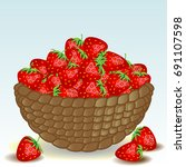 wicker basket without a handle  ... | Shutterstock .eps vector #691107598