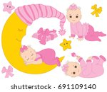 Vector Set With Cute Baby Girl...