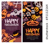 happy halloween vector banner... | Shutterstock .eps vector #691112164