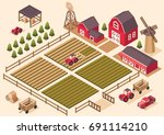 vector isometric farm elements  ... | Shutterstock .eps vector #691114210