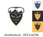 vintage ski logo design...   Shutterstock .eps vector #691116196