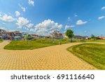 obzor  bulgaria   jul 09  2017  ... | Shutterstock . vector #691116640
