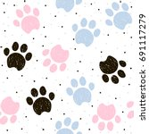 Colorful Dogs Paws Seamless...