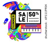 summer sale colorful style... | Shutterstock .eps vector #691119904
