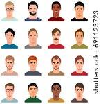 set of portraits of avatars of... | Shutterstock .eps vector #691123723
