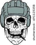 soldier skull vector art | Shutterstock .eps vector #691125358