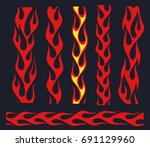 red fire bars set  old school... | Shutterstock .eps vector #691129960