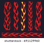 red fire bars set  old school... | Shutterstock .eps vector #691129960