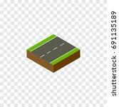 isolated single lane isometric. ... | Shutterstock .eps vector #691135189