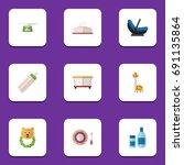 flat icon kid set of rattle ... | Shutterstock .eps vector #691135864