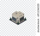 isolated office isometric.... | Shutterstock .eps vector #691136320