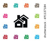 isolated domicile icon.... | Shutterstock .eps vector #691137184