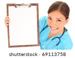 Medical Sign. Young Woman...
