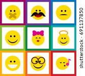 flat icon gesture set of hush ... | Shutterstock .eps vector #691137850